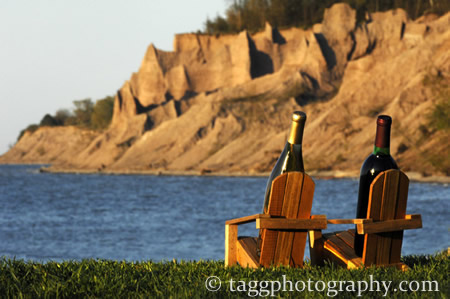 chimney bluffs and relaxing wine bottles